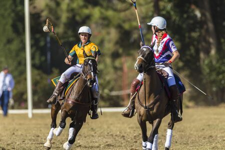 cant: Polocrosse sport world-cup Australias Lauren Cant play action at Shongweni equestrian fields Editorial