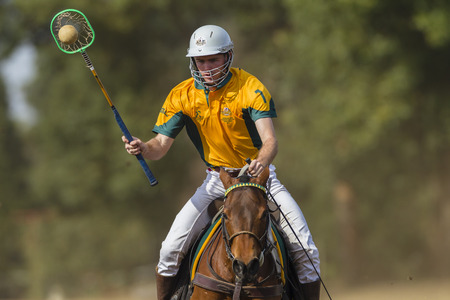 worldcup: Polocrosse sport world-cup Australias Will Grill play action at Shongweni equestrian fields Editorial