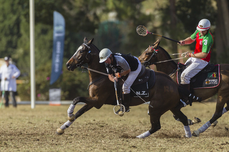 worldcup: Polocrosse sport world-cup New Zealands Shane Hill play action at Shongweni equestrian fields Editorial