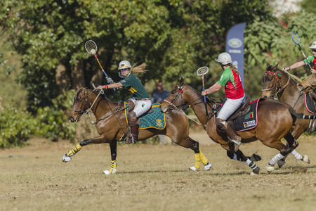 worldcup: Polocrosse sport world-cup South Africa Natalie McLarty play action at Shongweni equestrian fields