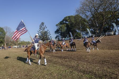 worldcup: Polocrosse sport world-cup USA  player riders parade march at Shongweni equestrian fields