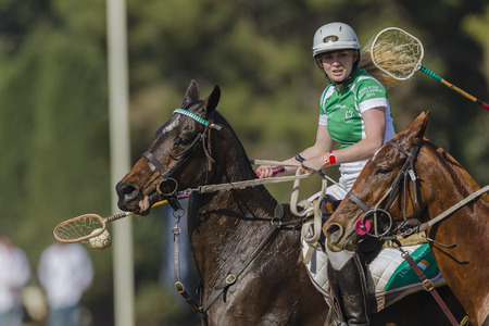 worldcup: Polocrosse sport world-cup game action Irelands Amy Buckley player rider at Shongweni equestrian fields