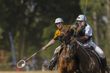 worldcup: Polocrosse sport world-cup Australias Will Weston v Zimbabwe play action at Shongweni equestrian fields