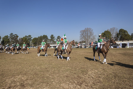 worldcup: Polocross World-cup Ireland v Zimbabwe player riders horses parade at game at Shongweni equestrain fields outside Durban.