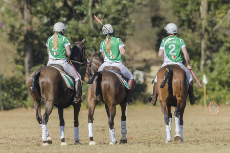 worldcup: Polocrosse World-cup Ireland Women player riders horses action play at Shongweni equestrian fields outside Durban.