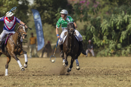 worldcup: Polocrosse sport world-cup Irelands Mark Hall v UK play action at Shongweni equestrian fields