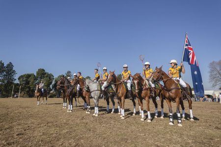worldcup: Polocrosse sport world-cup game parade Australia player riders at Shongweni equestrian fields