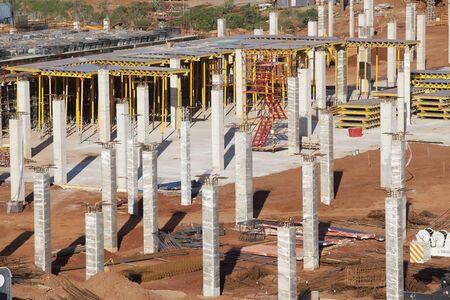 floor level: Building construction site concrete columns to first level
