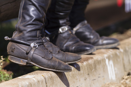 male and female: Riders equestrian boots and spurs male female