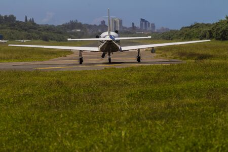 prop: Aircraft single prop plane on runway flight take off  pre check Stock Photo