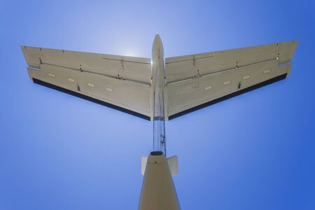 prop: Aircraft twin prop engine plane rear wing blue sky
