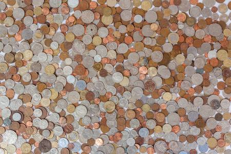 money: Money Coins Spread obsolete currencies worldwide Stock Photo