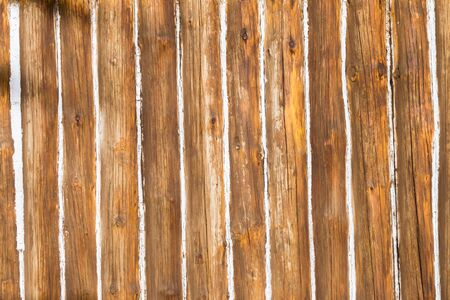 filler: Cabin wood pole walls with white paste filler  lines closeup texture background decor  detail