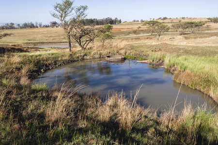 catchment: Rural farming landscape terrain waterholes catchment for rain season