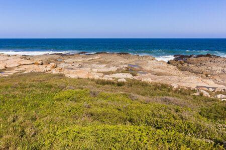 coastline: Blue ocean rocky coastline landscape