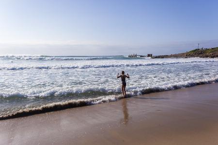 preteens beach: Girl preteen beach summer morning ocean swim