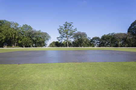 cricket field: Cricket field pitch rain covers over sports ground landscape