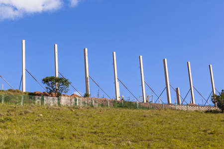 exposed: Construction building concrete columns exposed to dry