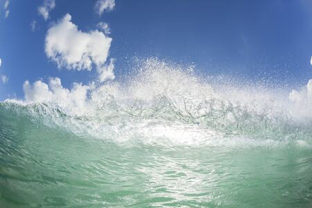 natures: Wave ocean water swimming closeup encounter natures power beauty. Stock Photo