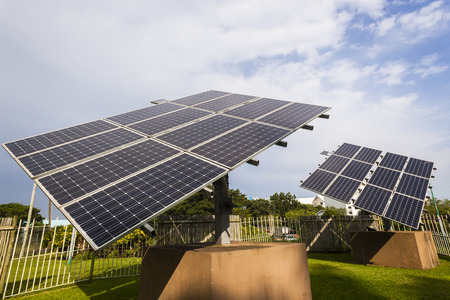sun energy: Solar screen panels mounted frame structure sun power energy electricity supply.
