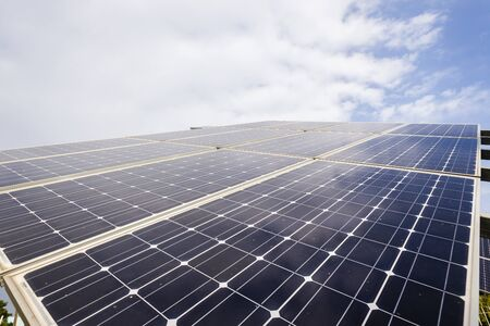 electricity supply: Solar screen panels mounted frame structure sun power energy electricity supply.