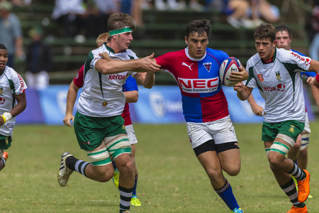 noord: Rugby players action Framesby v Hoerskool Noord Kaapat Kearney rugby festival high schools.