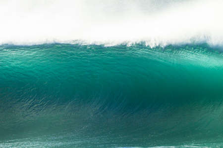 hollow wall: Wave blue wall of crashing ocean water power