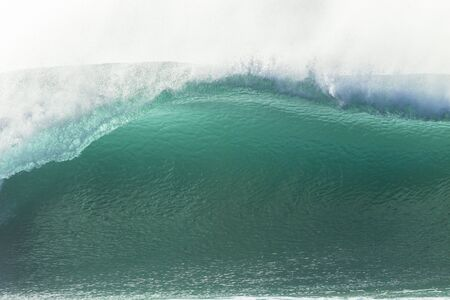 hollow wall: Wave hollow blue wall crashing ocean water power