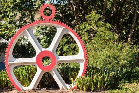 Wheel gears with drive gear sprocket outside engineering machining workshop Stock Photo - 58981793