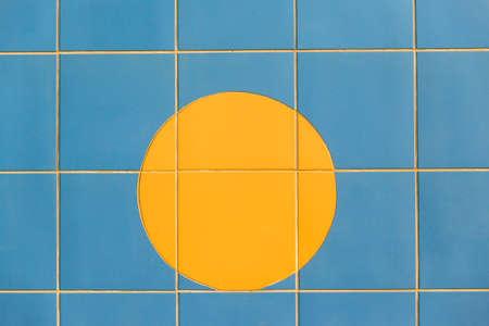 wall decor: Decor tiles yellow sunrise blue design wall