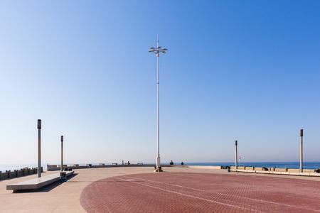 beachfront: Beachfront ocean blue sky promenade landscape.