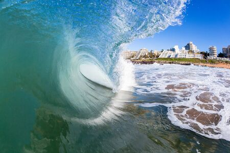 inside out: Wave inside out hollow crashing blue ocean water swimming photo