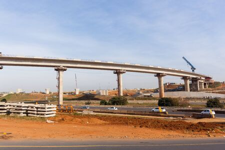 flyovers: Construction industrial new traffic highway road intersection junction flyover ramps structures.