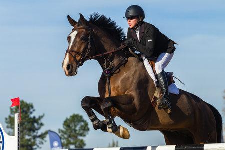 Piloto de demostración del caballo acción de salto de cerca evento ecuestre. Editorial