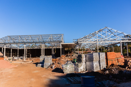 Building construction roof  structures and bricks Stock Photo
