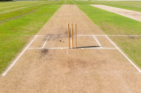 Cricket field pitchs wickets markings grounds summer sport. Stock Photo