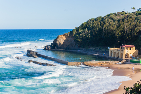Thompsons Bay beach ocean waves tidal swimming pool coastline holiday landscape.
