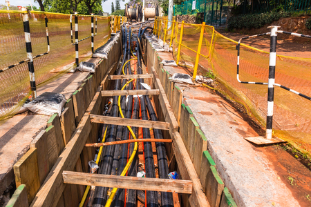 Construction Electrical new high voltage power cables been installed in underground trenches.