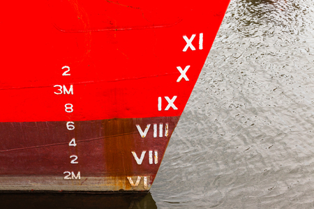 Ship boat bow with depth cargo numbers in red paint closeup in hatbor port.