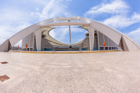 Football stadium entrance full wide exposure landscape of venue structure Durban South-Africa Stockfoto