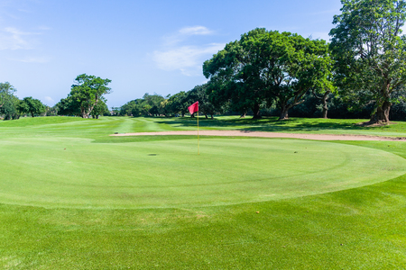 Golf course green flagstick hole fairway trees scenic nature reserve coastal course Stock Photo