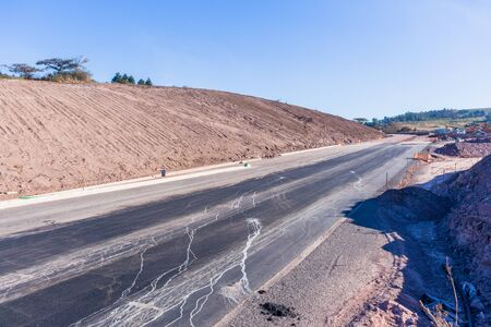 Road Highway industrial construction earthworks expansion of new traffic routes lanes entry exit ramps to existing network.