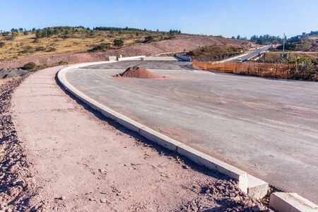 New Bridge Road Highway industrial construction expansion near completion of route lanes entry exit ramps to existing network. Stock Photo