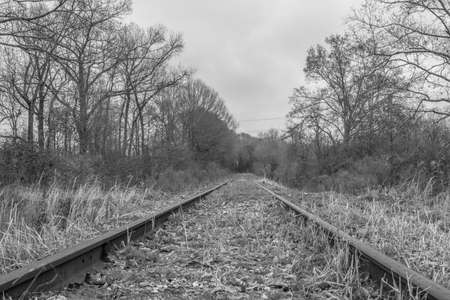 black and white abandoned railroad Imagens