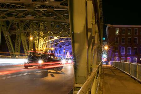 light trails on Lowell bridge