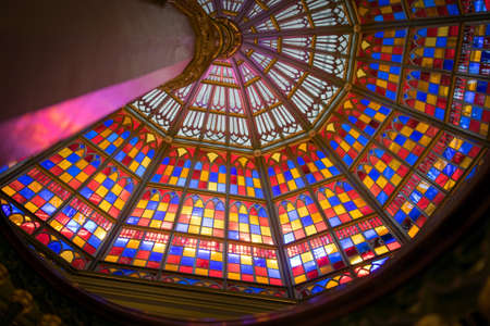 stained glass ceiling in Old Louisiana State Capitol