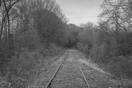 abandoned railroad - black and white Imagens