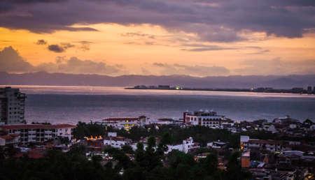 sunset in old Puerto Vallarta Stock Photo