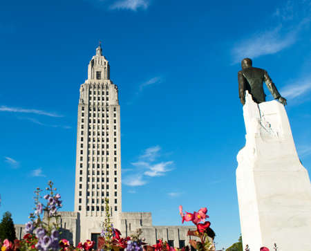 Huey P. Long statue and the Louisiana State Capitol Building in Baton Rouge