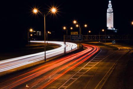 interstate light trails in Baton Rouge Louisiana Stock Photo
